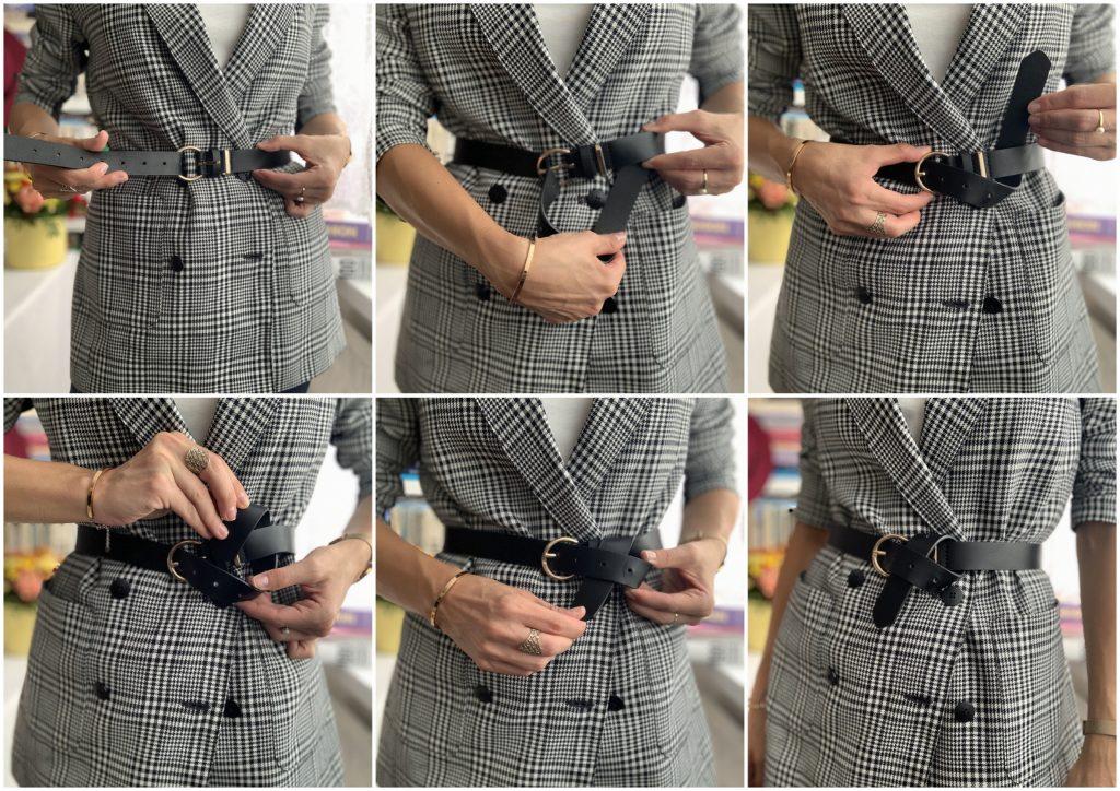 how to tie belt fashion hack black belt and blazer black and white