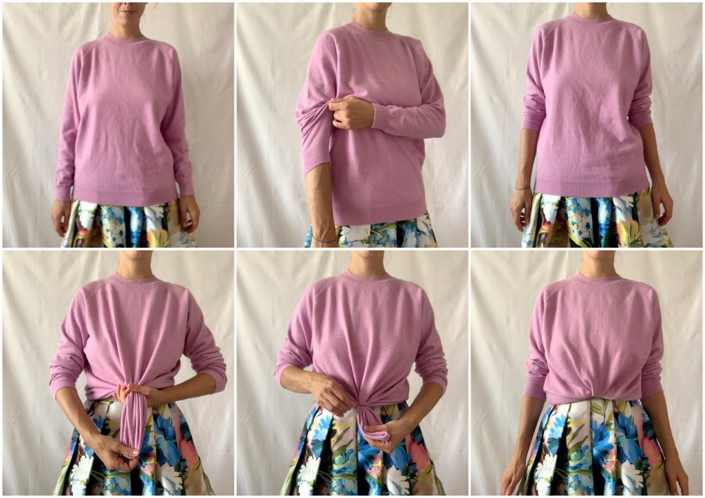 purple sweater and midi pleated floral skirt, fashion and lifestyle hack how to shorten a sweater with a elastick band